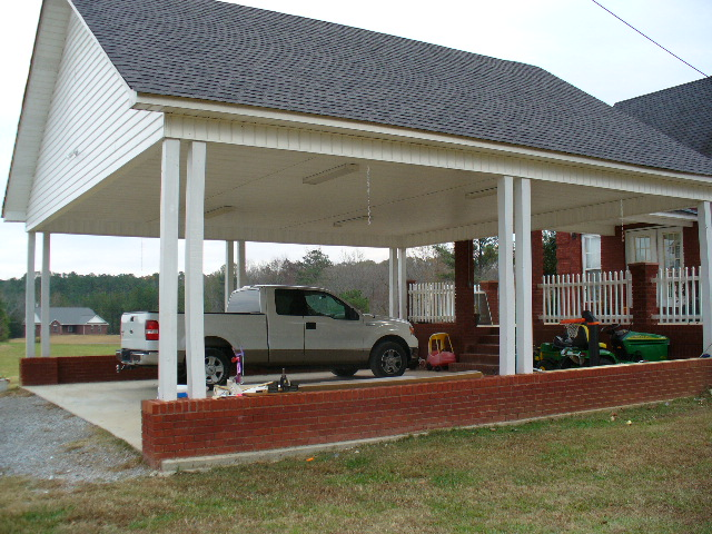 Carport framing int 39 l association of certified home for Brick carport designs