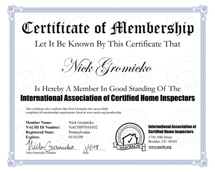 Sample Membership Certificate | Logos And Certification Seals For Your Inspection Business Internachi