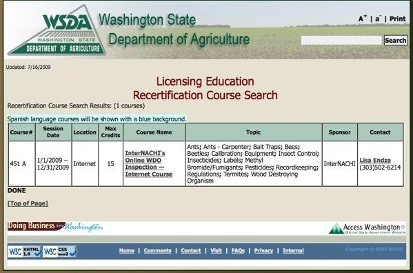 WSDA approves InterNACHI.