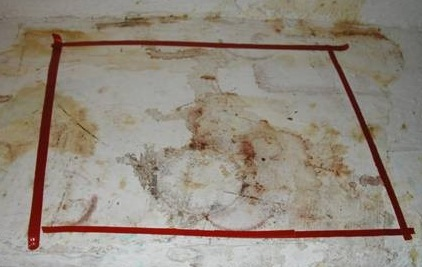 Chemical stains from a former meth lab