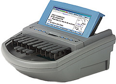 A stenotype is a specialized keyboard used by a court reporter to transcrribe speech
