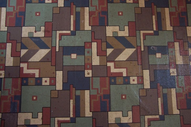 A classic geometric design on vintage 1950s linoleum