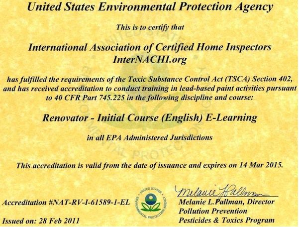 InterNACHI's online Lead-Safe Certified RRP Course