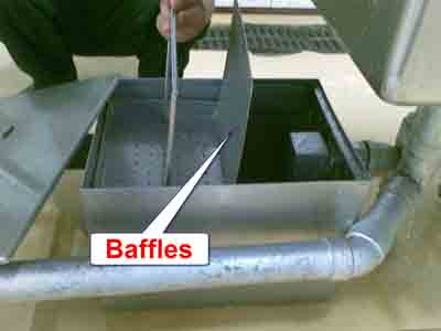 Baffles on a commercial grease trap