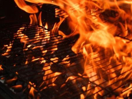 fire on a bbq grill