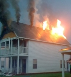This house in Fayetteville, AR, was ignited by lightning