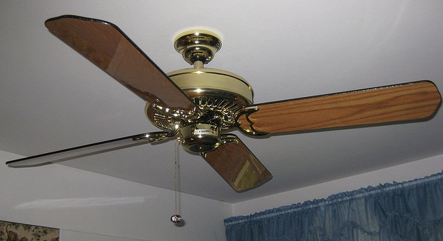 Most household ceiling fans have four or five blades.