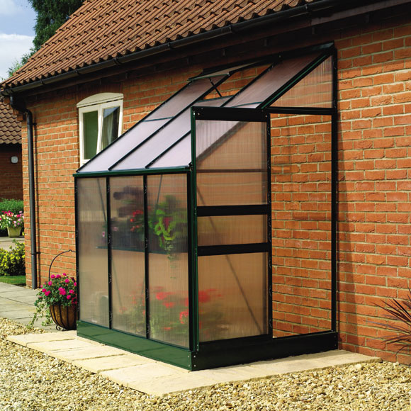 The lean-to greenhouse design leand against a supporting structure and can be dismantled seasonally