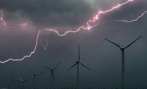Lightning is a serious danger to wind turbines