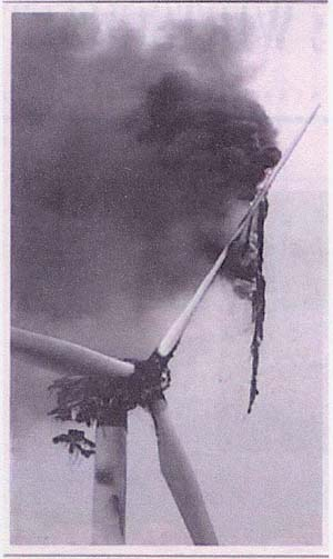 A lightning-damaged wind turbine
