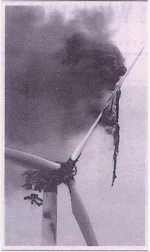 A lightning-damaged wind turbine