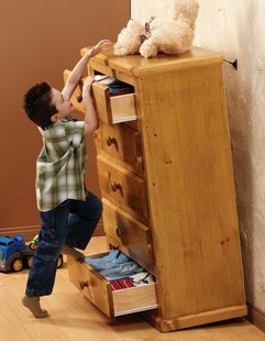 Dressers can easily tip over onto children