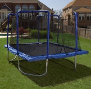 This trampoline is enclosed and safely placed away from trees, power lines and other overhanging objects
