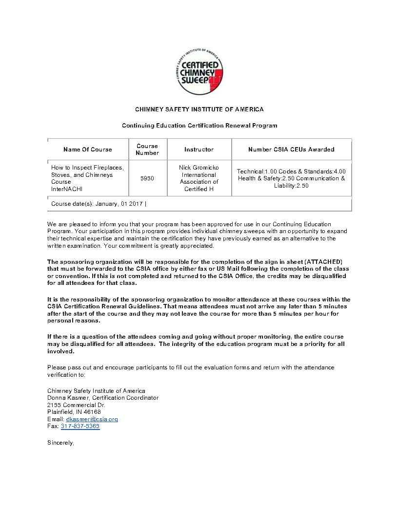 Csia Chimney Safety Institute Of America Approves Internachis