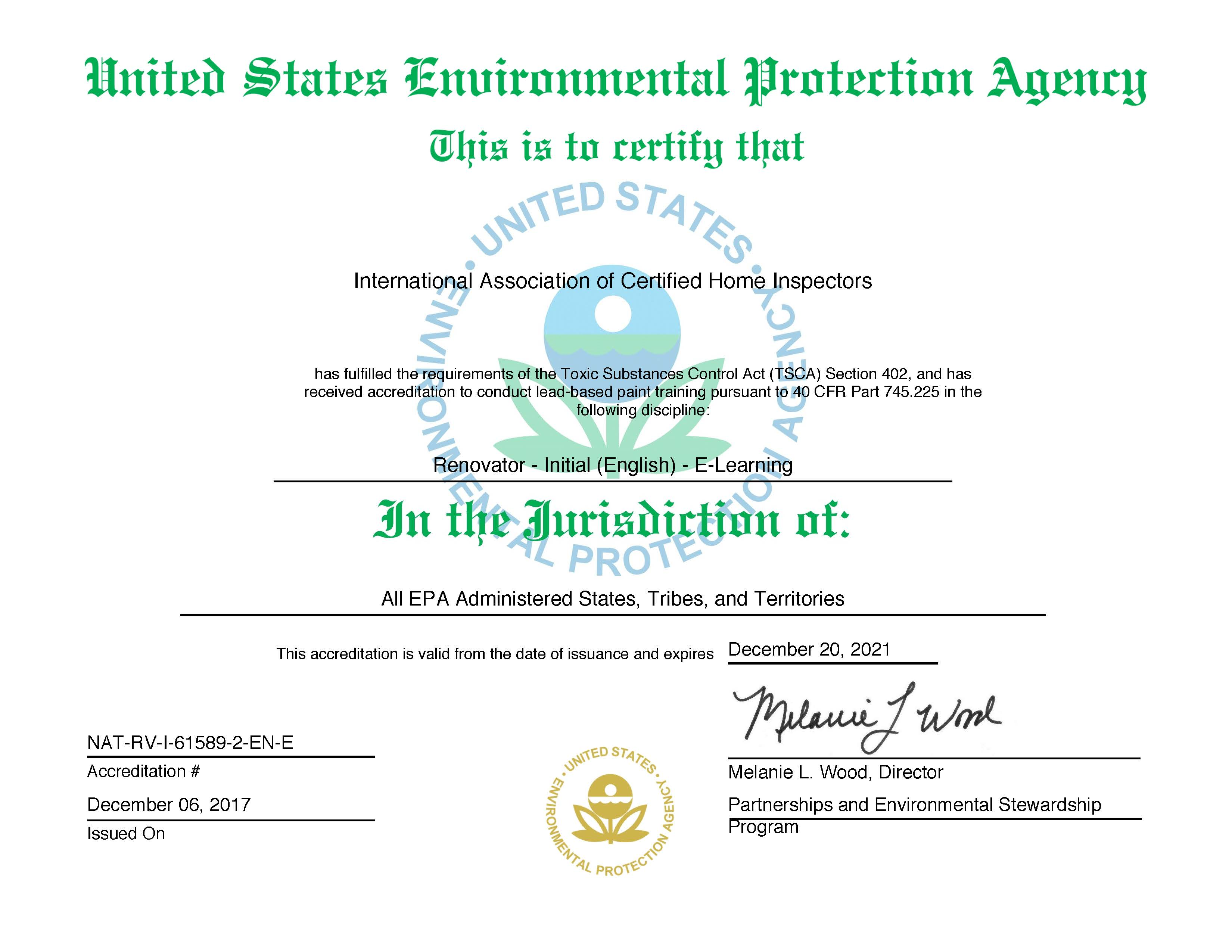 U.S. EPA Certifies InterNACHI as a Lead-Safe Certified RRP Training ...