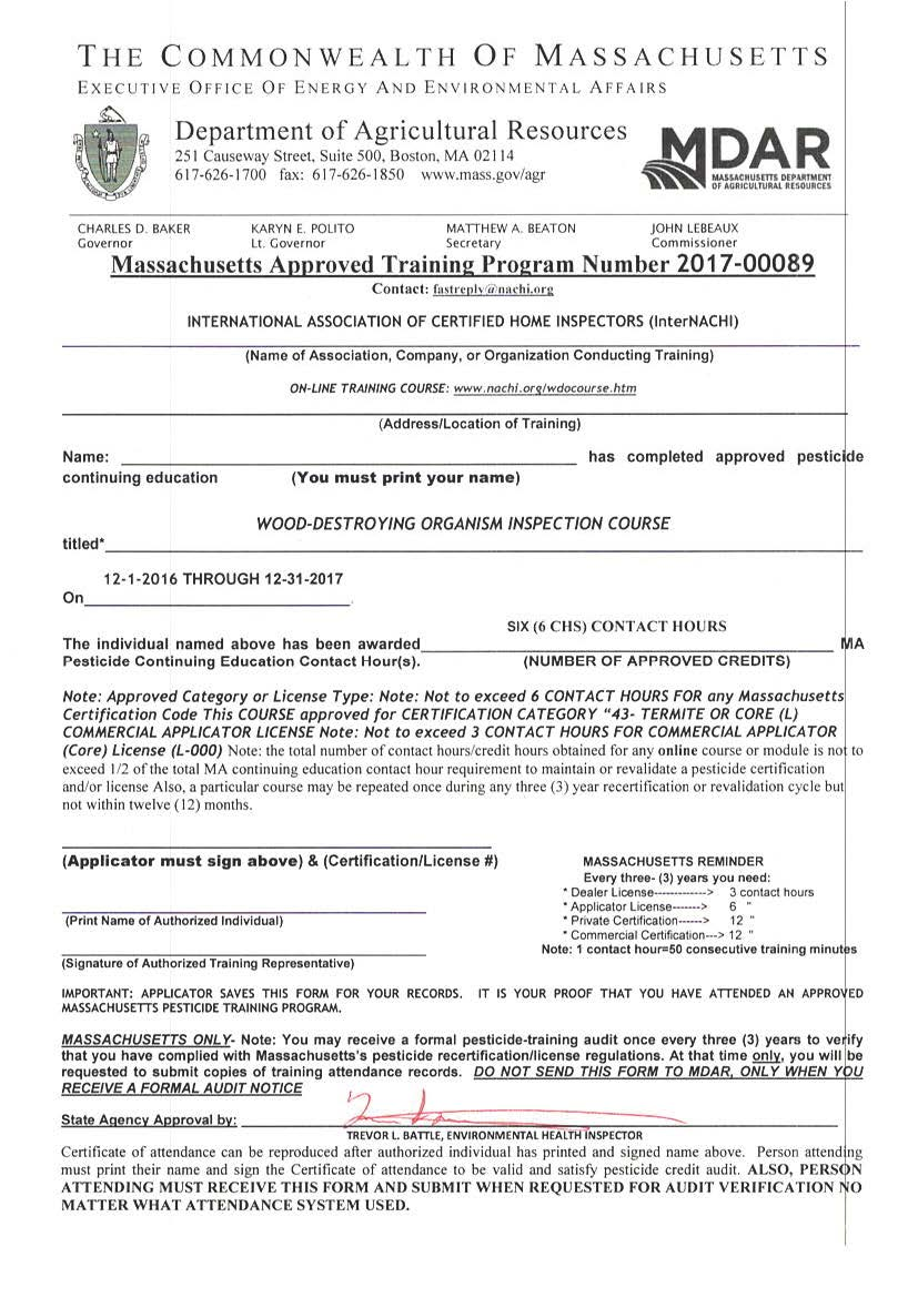 Massachusetts approves internachis free online wdo inspection view approval letter from massachusetts of the wood destroying organism inspection course 2017 xflitez Gallery