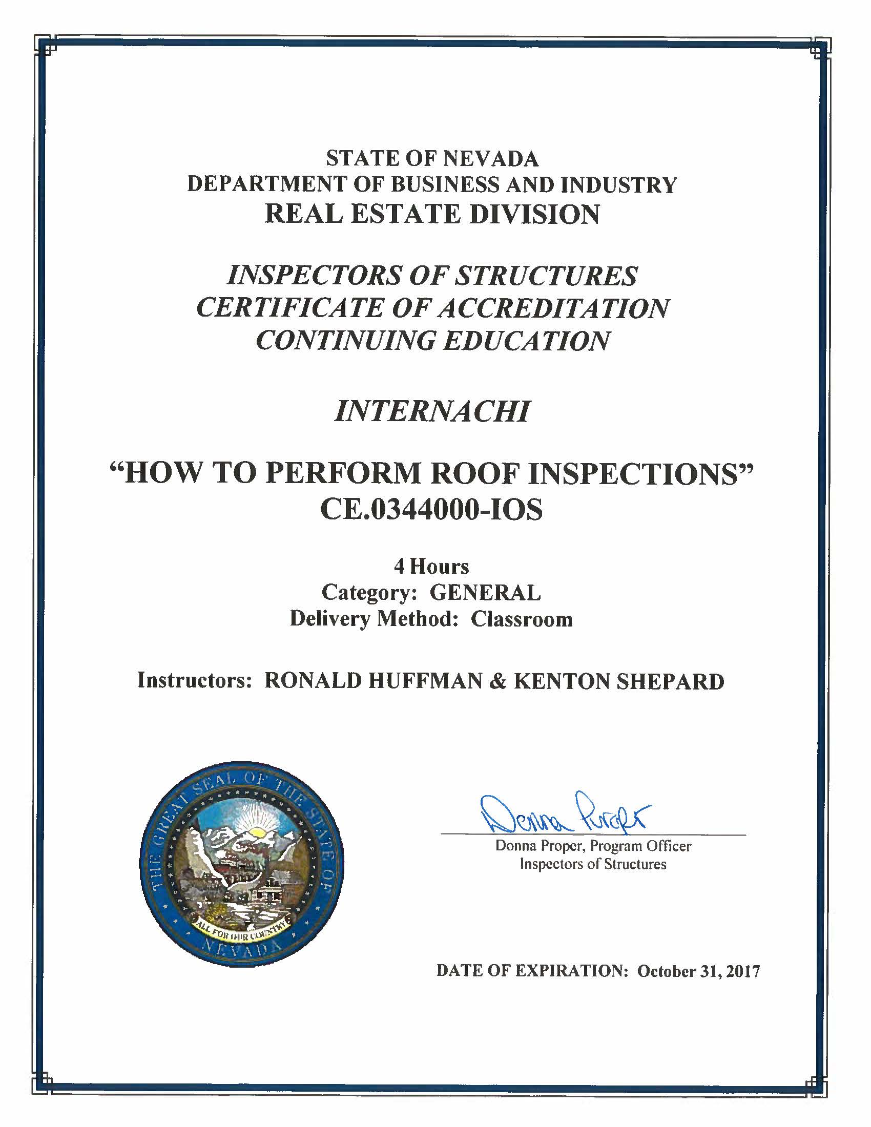 How to become a certified home inspector in nevada internachi ce0344000 ios 4 hours general classroom ronald huffman and kenton shepard instructors expiration october 31 2017 1betcityfo Image collections