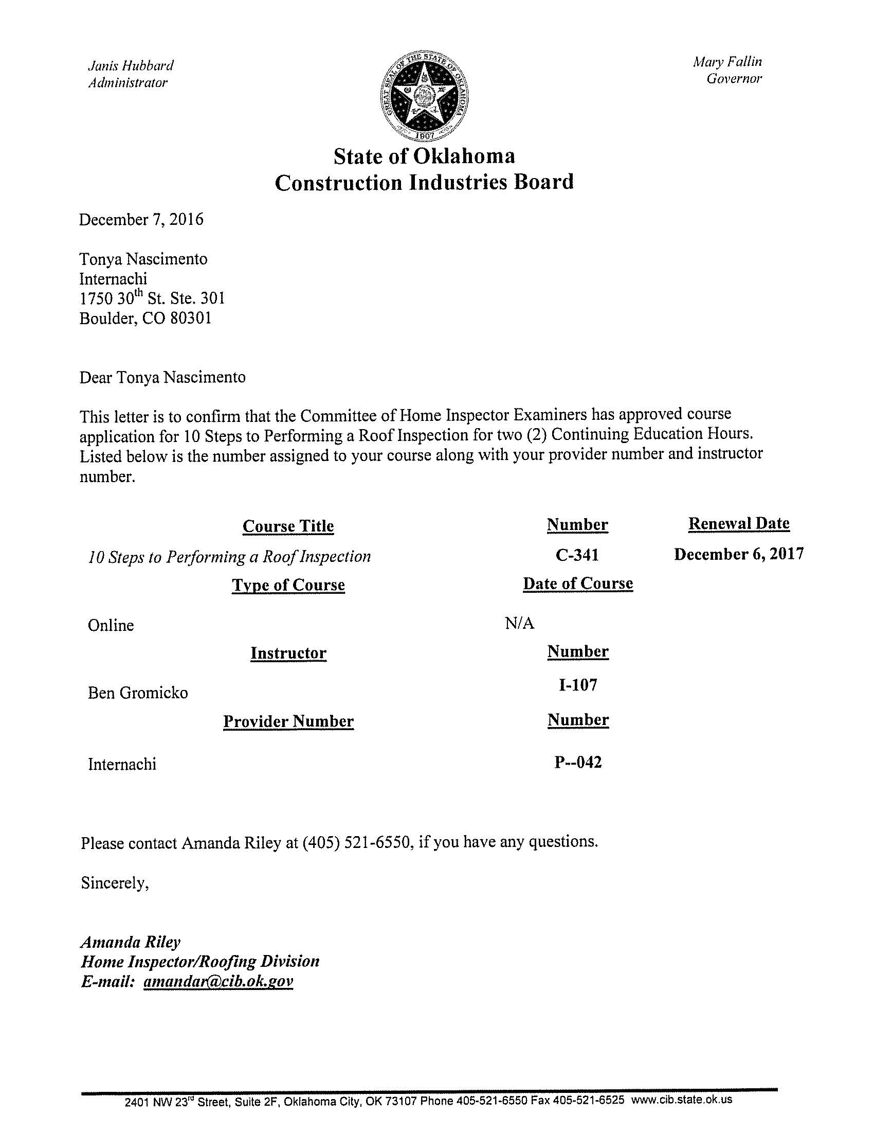 Roofing certification course certifications tribrent sc 1 st course c 341 expiration december 6 2017 sc 1 st internachi image number 12 of roofing certification xflitez Images