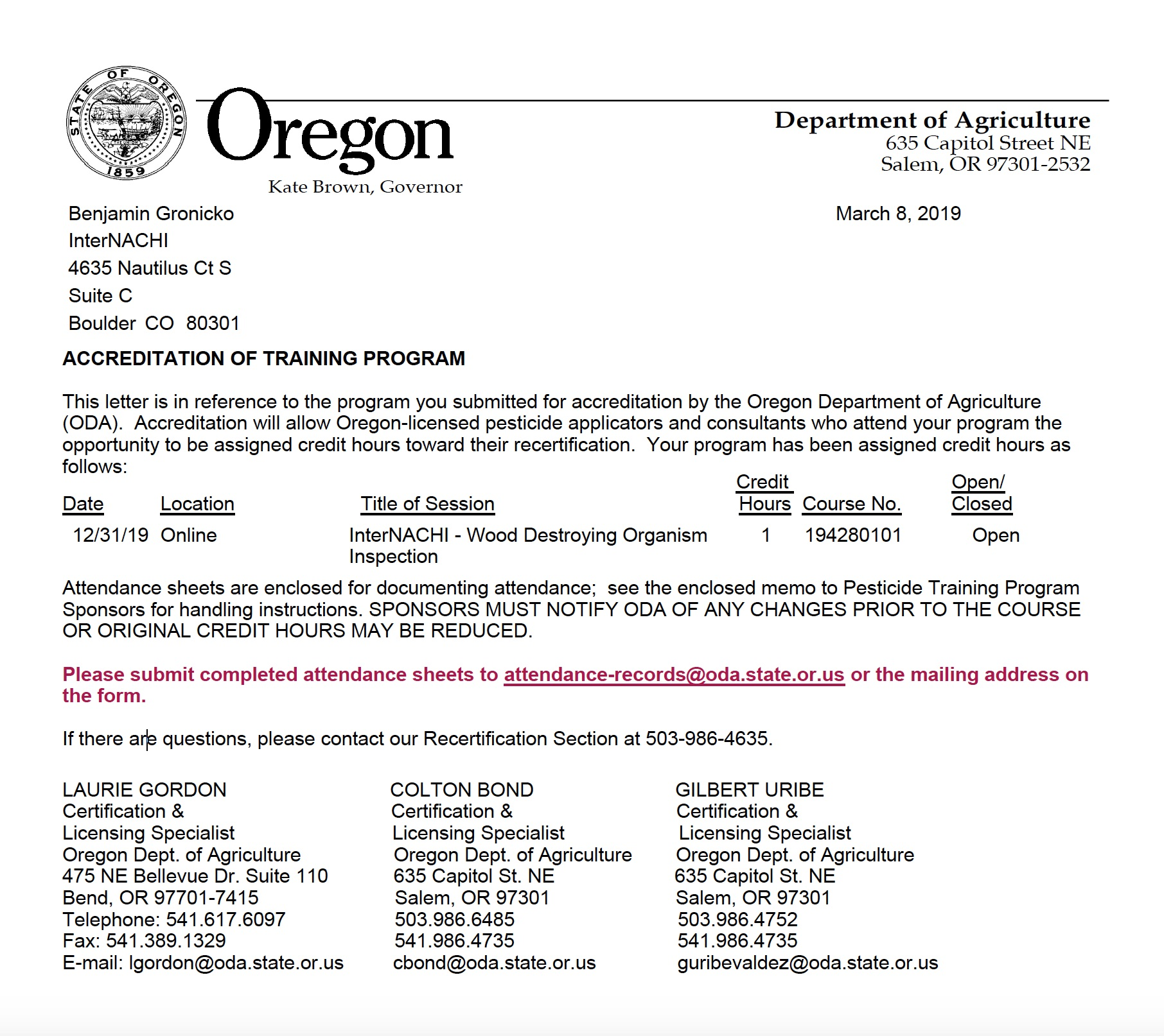 Oregon Department of Agriculture Approves InterNACHI's Free, Online