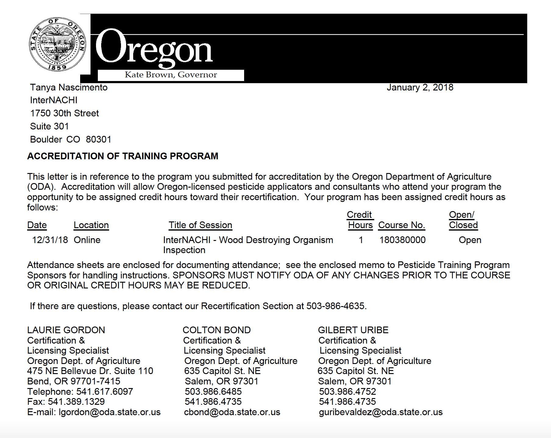 Oregon department of agriculture approves internachis free course 170680101 1 credit hour expiration 12312018 take the free online xflitez Gallery