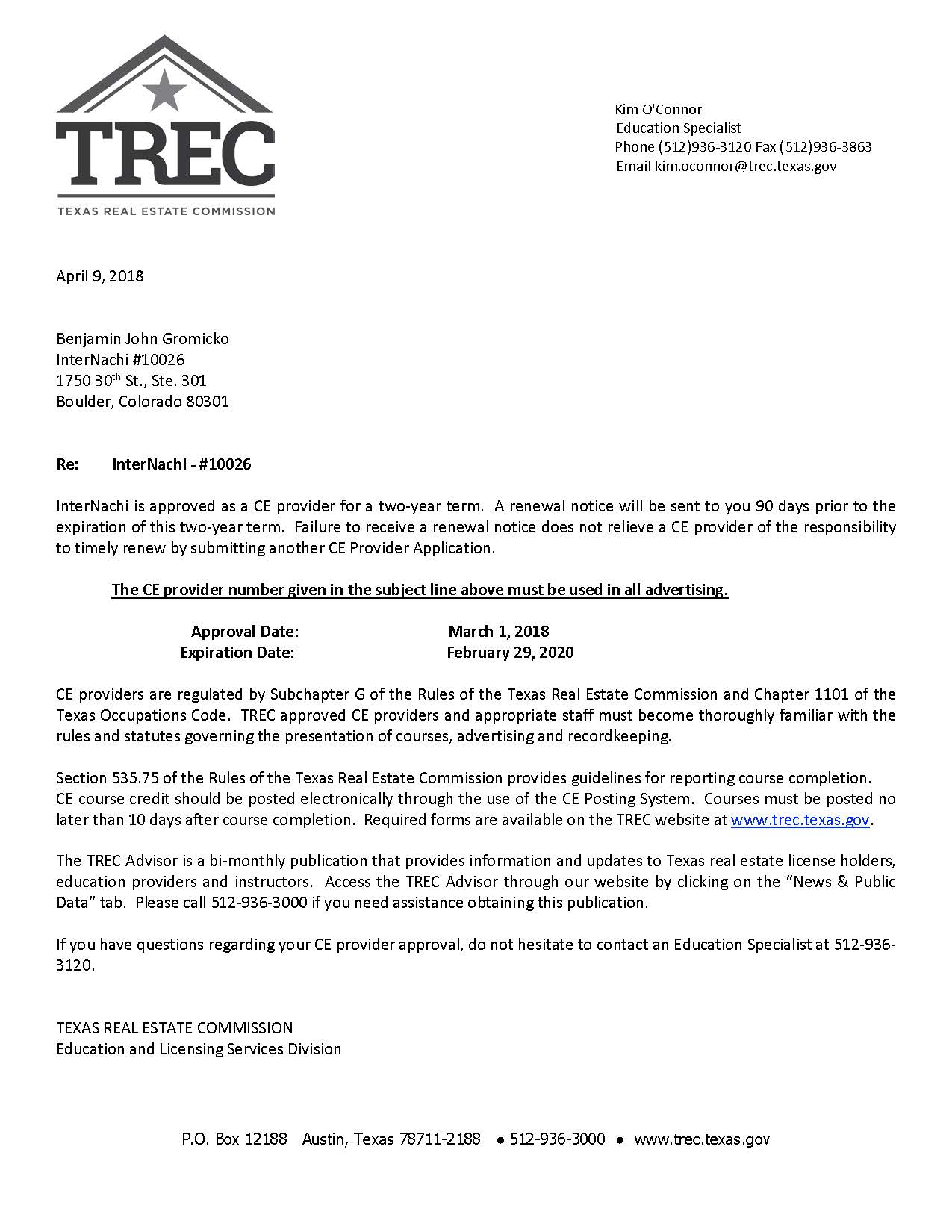 Texas Real Estate Commission (TREC) Approves InterNACHI as