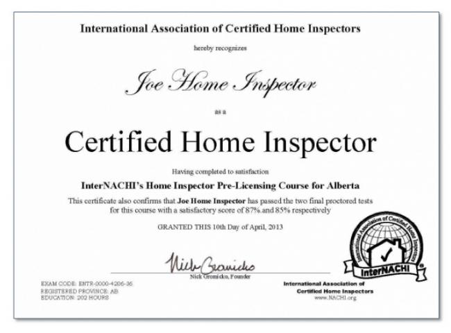 alberta certificate inspector inspection internachi sample certified exam inspectors licensing test nachi proctor proctored exams become service