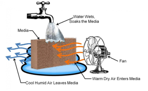 concept behind an evaporative cooler u2013 warm air is cooled as the air passes through a wet medium and gives up some of its heat to evaporate the water image
