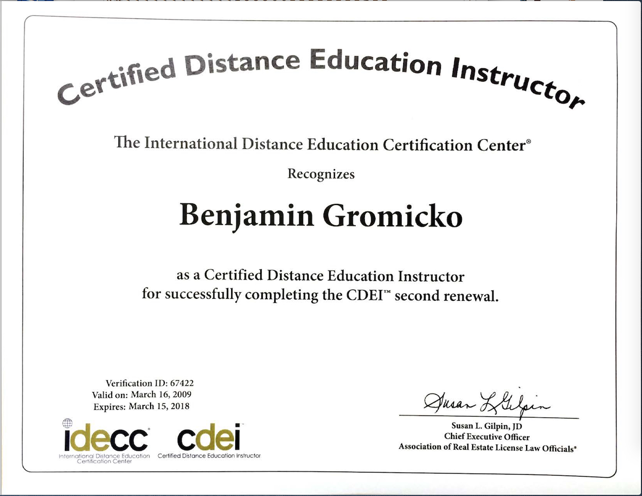 Ben gromicko intl association of certified home inspectors arello and idecc international distance education certification center xflitez Gallery