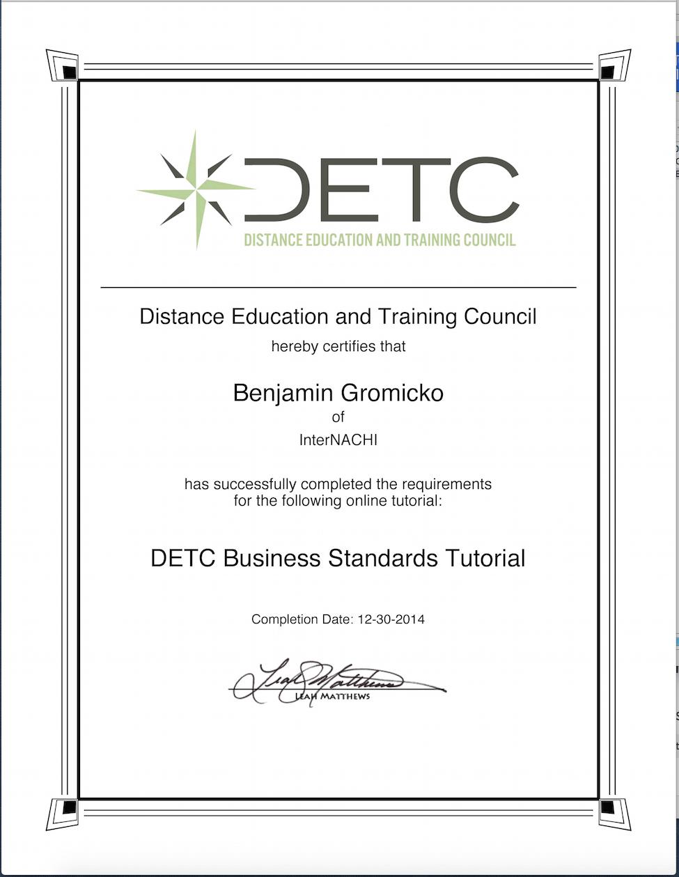 Ben gromicko intl association of certified home inspectors certified distance education instructor xflitez Choice Image