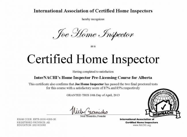 how to become a certified home inspector in alberta - internachi