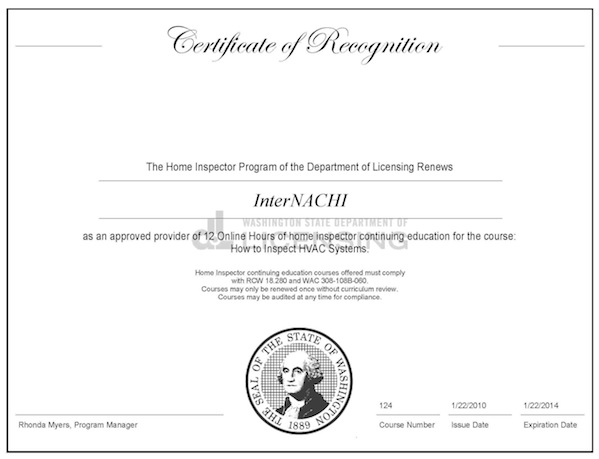 Home inspection certification online how to become a for Washington state approved house plans