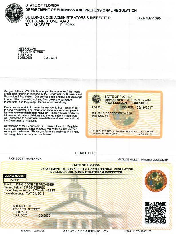 Building Code Inspector License Florida
