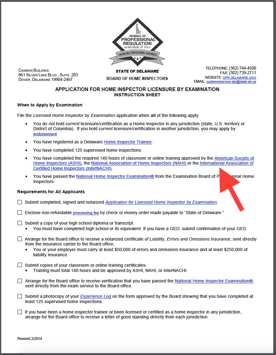 How to become a home inspector in delaware internachi read delawares approval letter xflitez Gallery