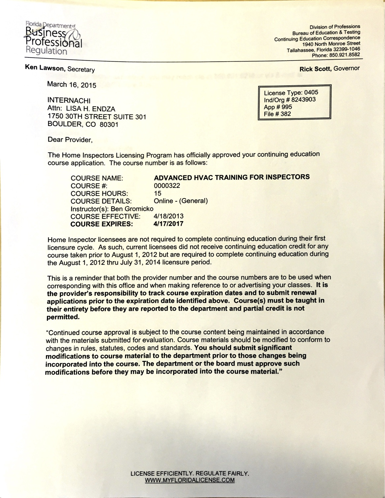 View Approval Letter For Advanced HVAC Training Course