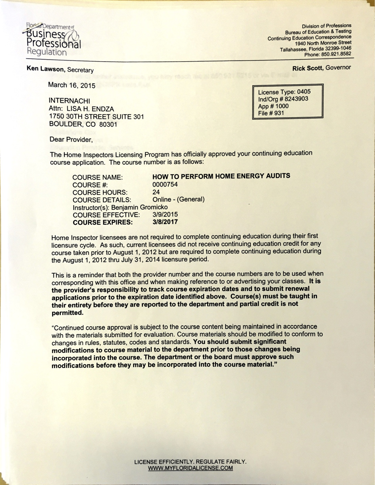 view approval letter for how to perform home energy audits course