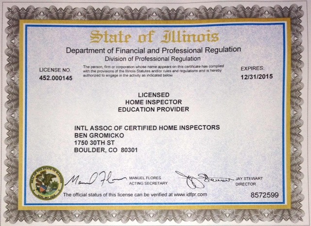 Home inspector licensing continuing education business for Il fishing license