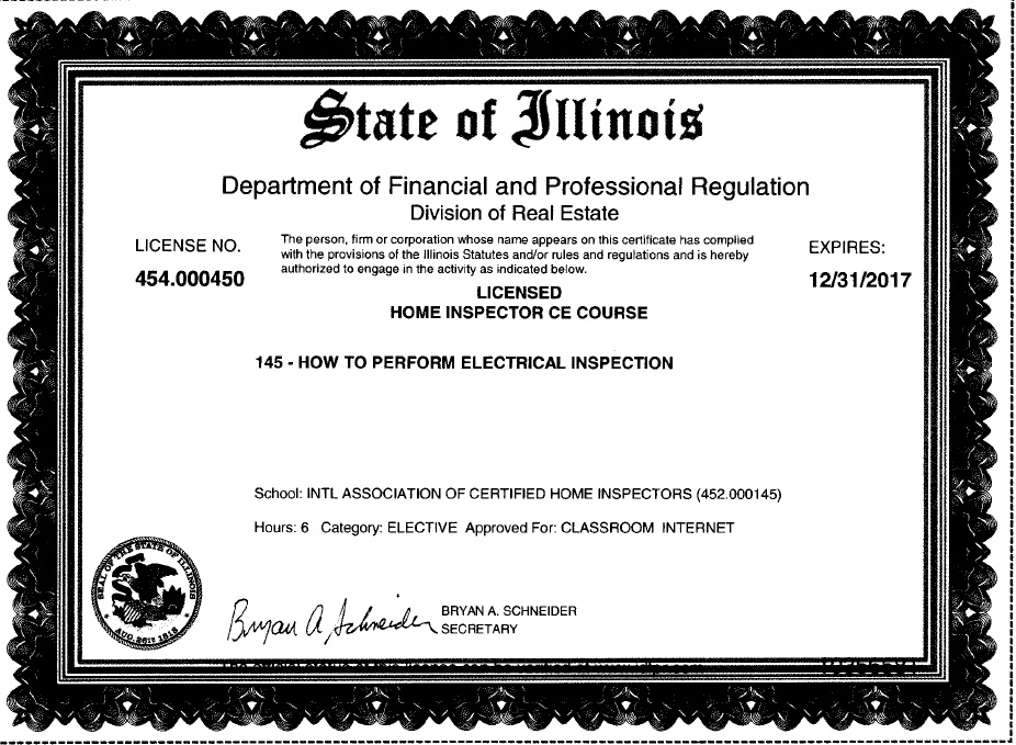 free illinois continuing education courses for home inspectors step rh nachi org residential electrician license texas residential electrician license ohio
