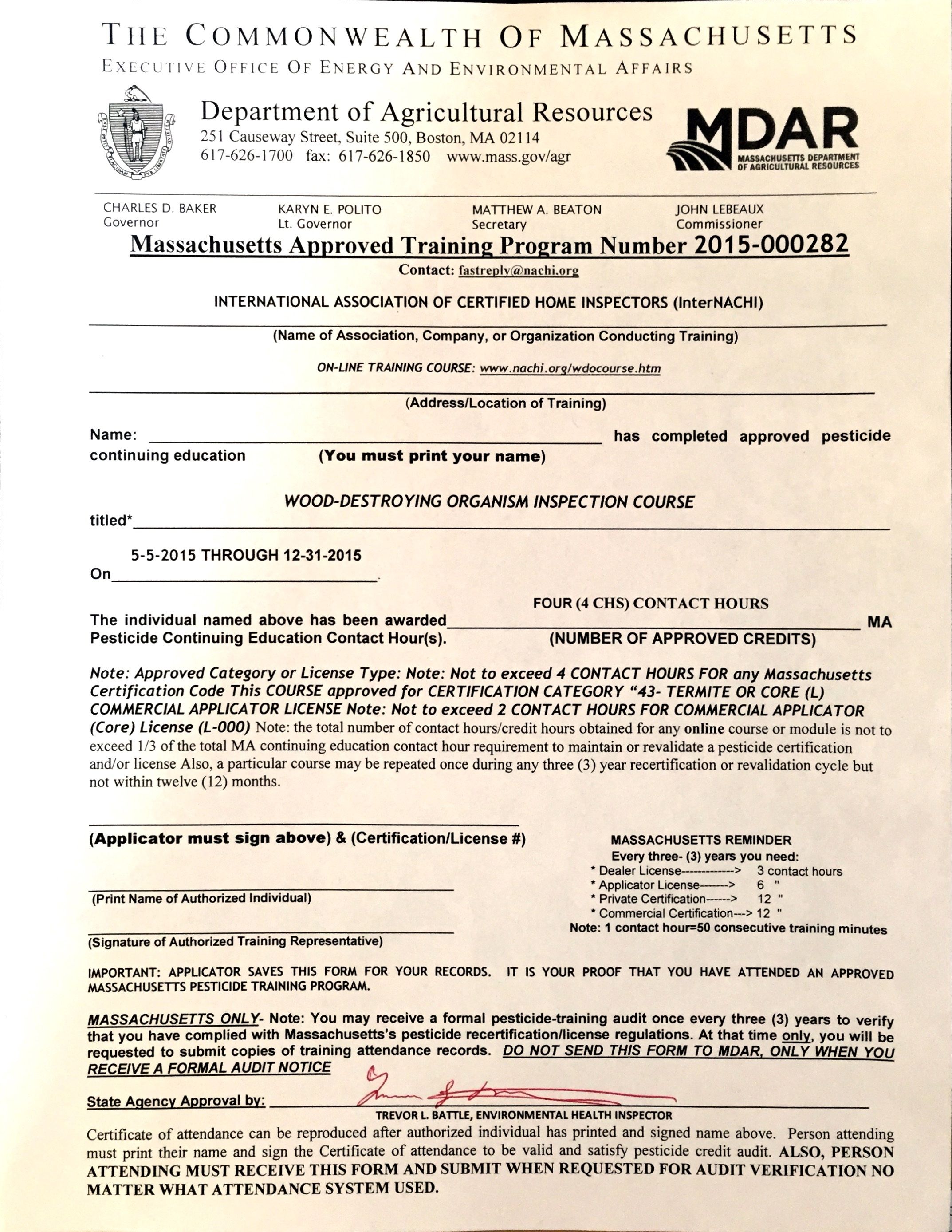 Massachusetts approves internachis free online wdo inspection view approval letter from massachusetts of the free online wood destroying organism wdo inspection course 2015 xflitez Image collections