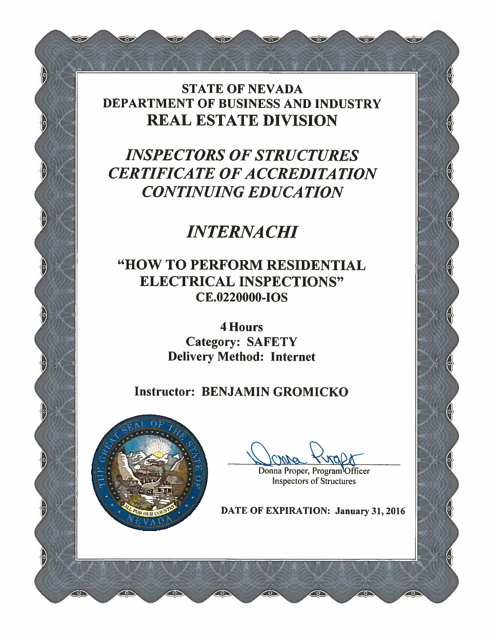 How to become a certified home inspector in nevada internachi view approval of residential electrical inspections xflitez Images