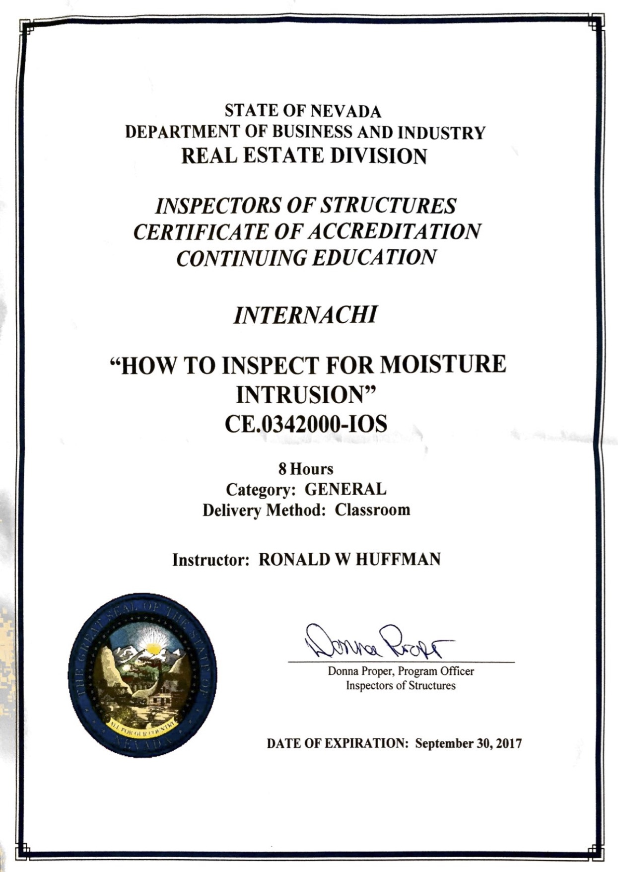 How to become a certified home inspector in nevada internachi ce0342000 ios 8 hours general classroom ronald huffman instructor expiration september 30 2017 1betcityfo Image collections