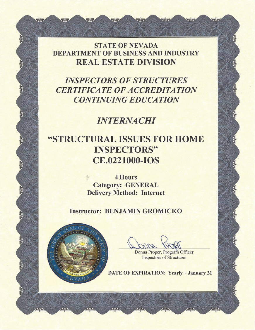 How to become a certified home inspector in nevada internachi view approval of structural issues for home inspectors xflitez Gallery