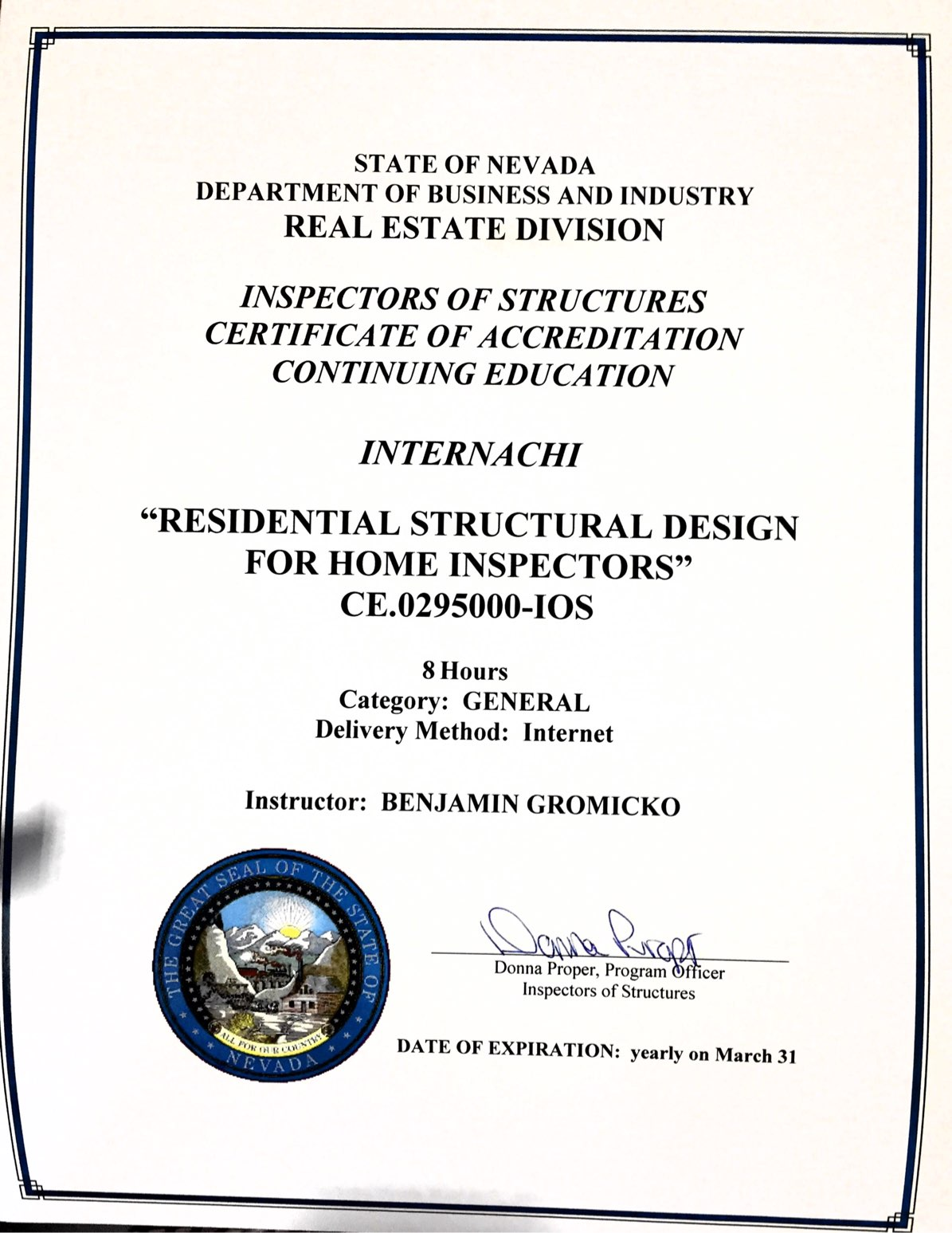 How to become a certified home inspector in nevada internachi view approval of residential structural design for home inspectors course 1betcityfo Gallery