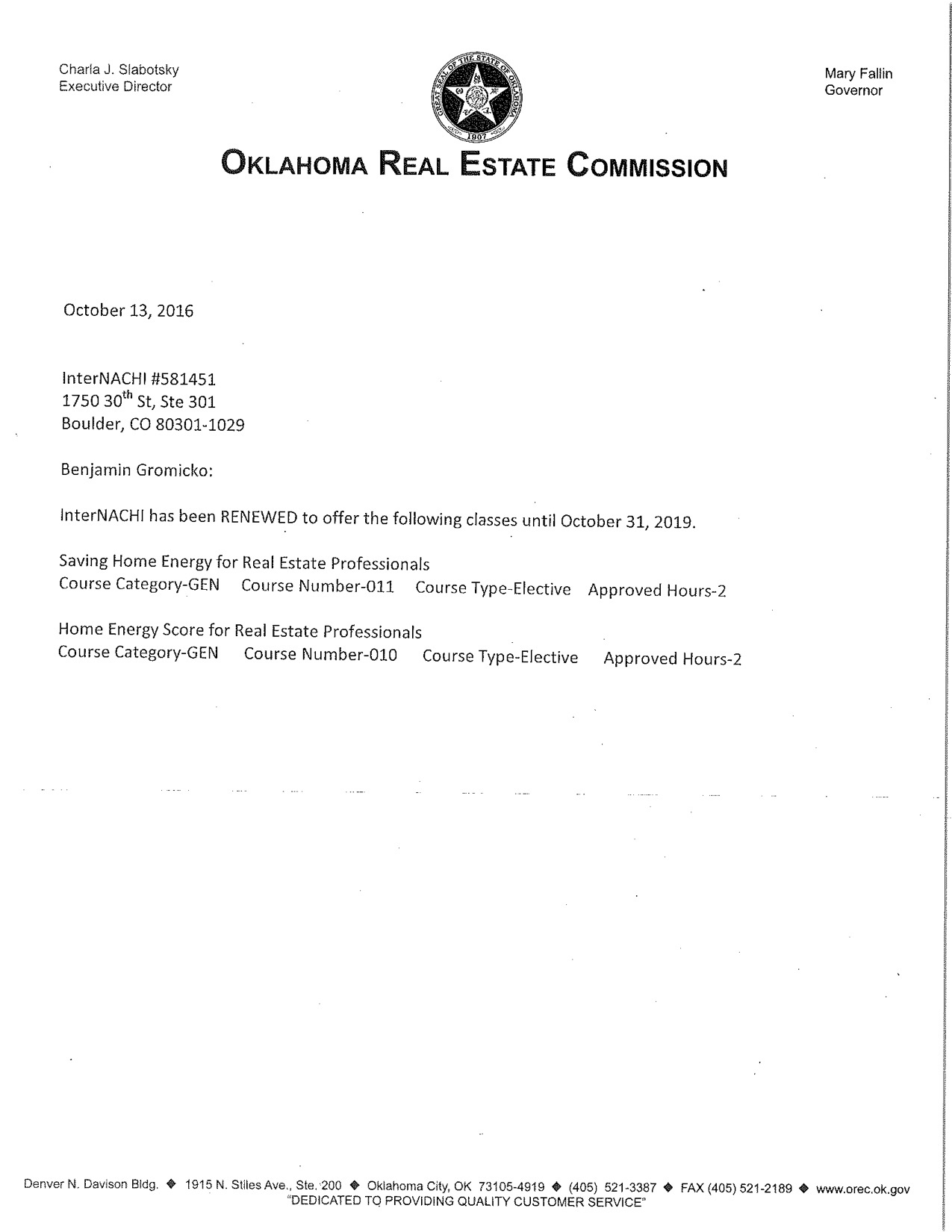 Oklahoma Real Estate Commission Approves InterNACHI as Course ...