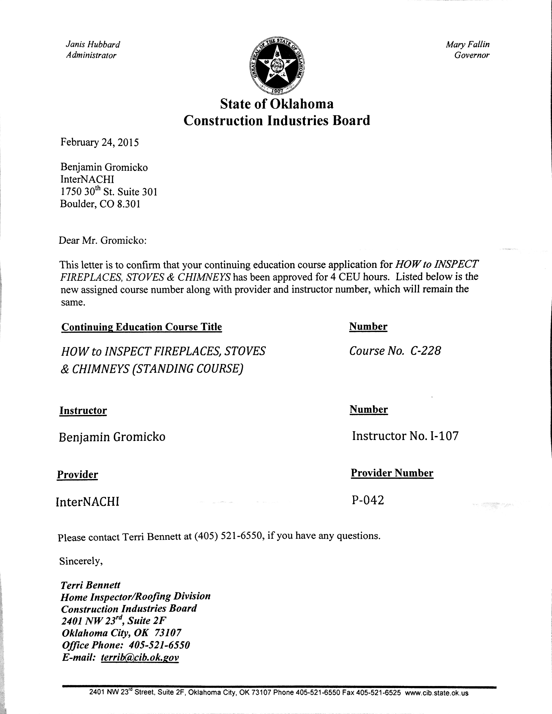 How to become a certified home inspector in oklahoma internachi enlarge approval letter for the how to inspect fireplaces stoves chimneys course 1betcityfo Gallery