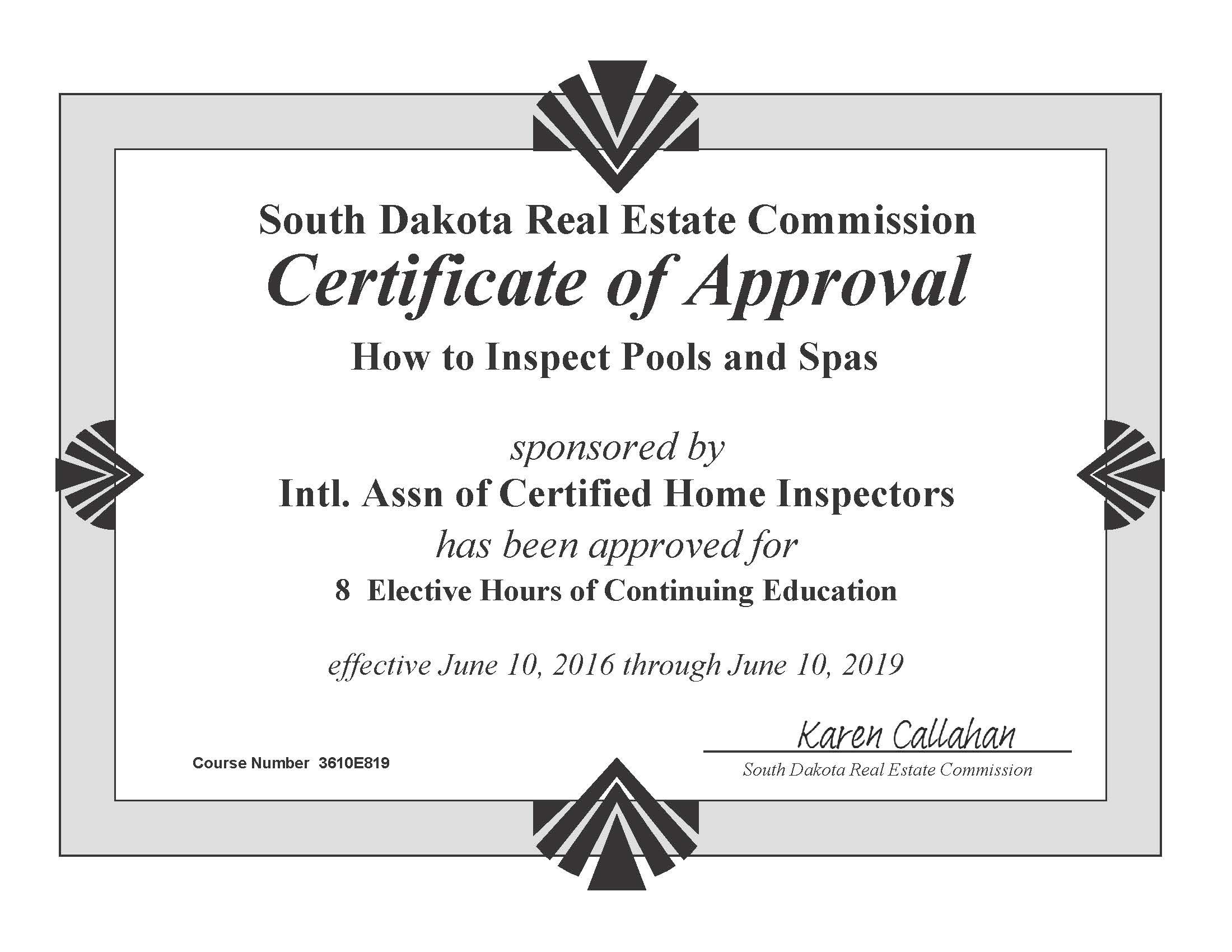 How to become a home inspector in south dakota internachi view approval of how to inspect pools and spas course 1betcityfo Images