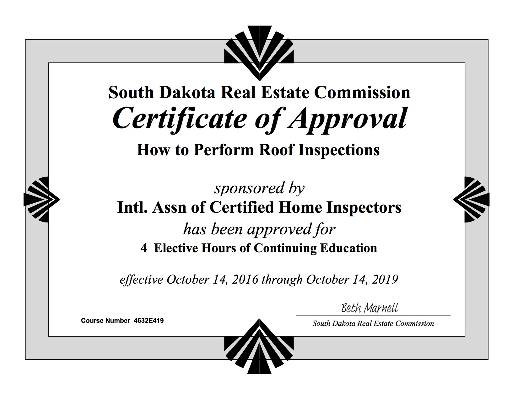 How to become a home inspector in south dakota internachi view approval of how to perform roof inspections class xflitez Images