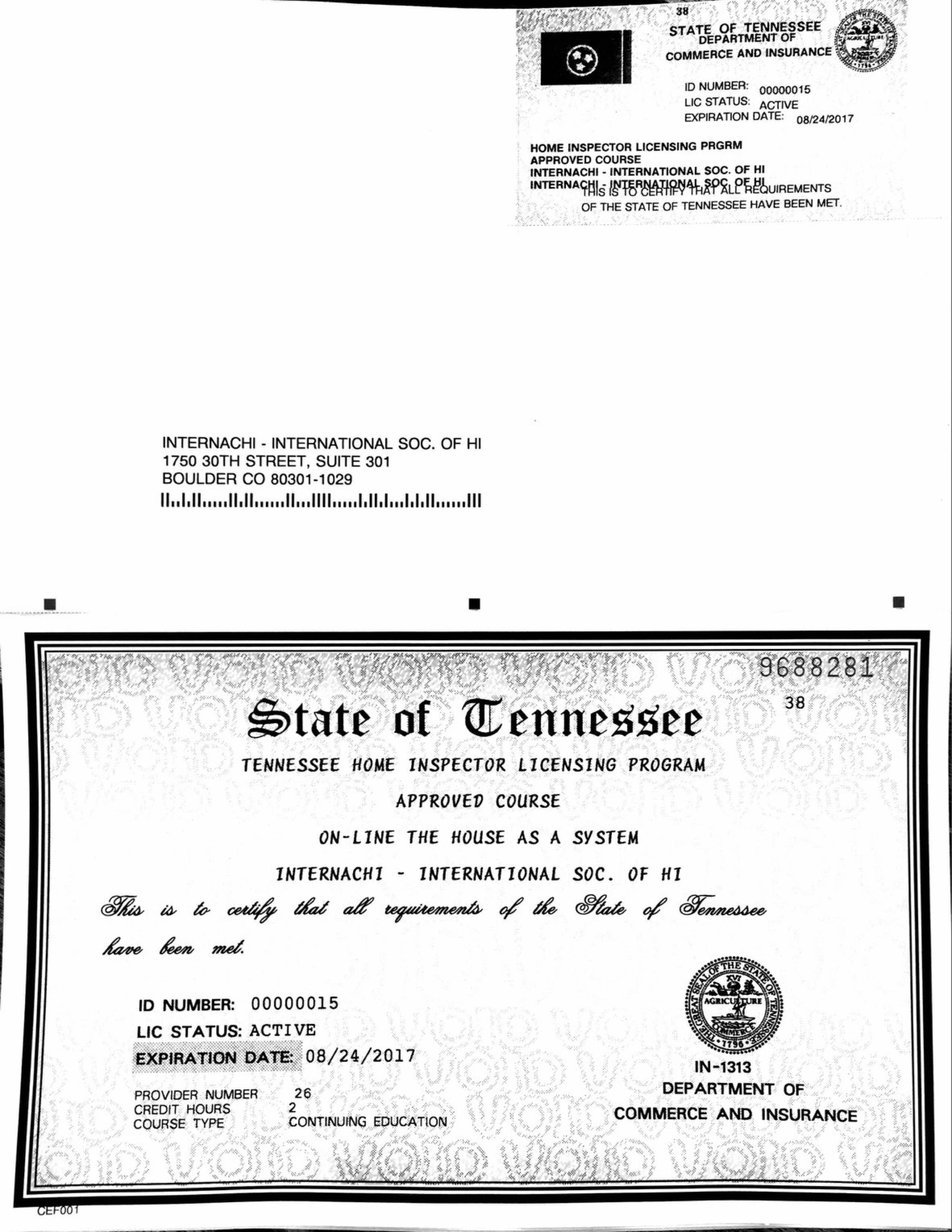 How to become a licensed home inspector in tennessee internachi view the house as a system course xflitez Image collections