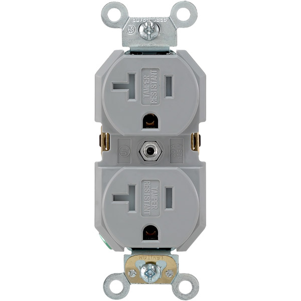 Tamper-resistant receptacles, like this one, are a good alternative to traditional receptacles, especially with young children in the home.