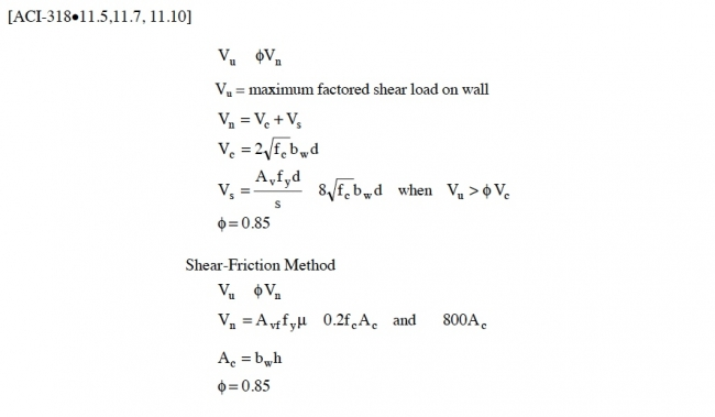 figure 44 variables defined for shear calculations in reinforced concrete walls