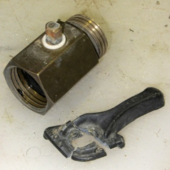 A ball valve with a broken handle (photo by SoftSolder.com)